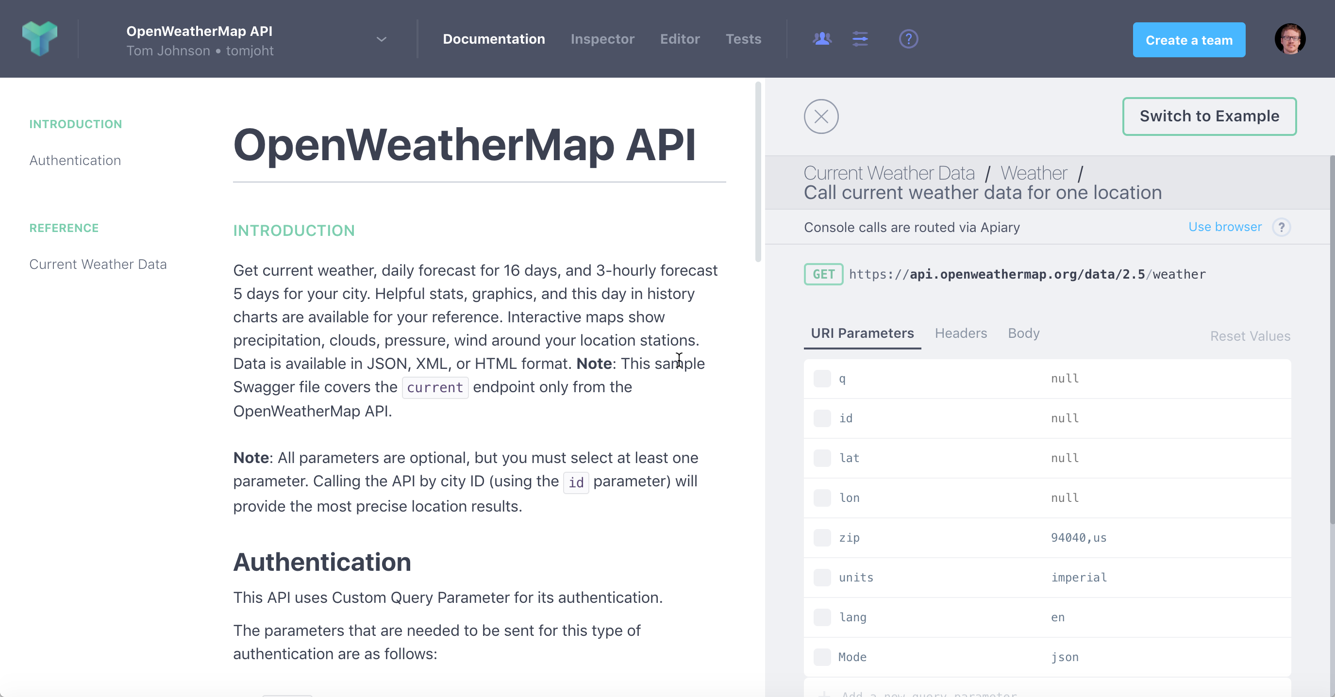 Previewing the documentation for the OpenWeatherMap API definition in Apiary