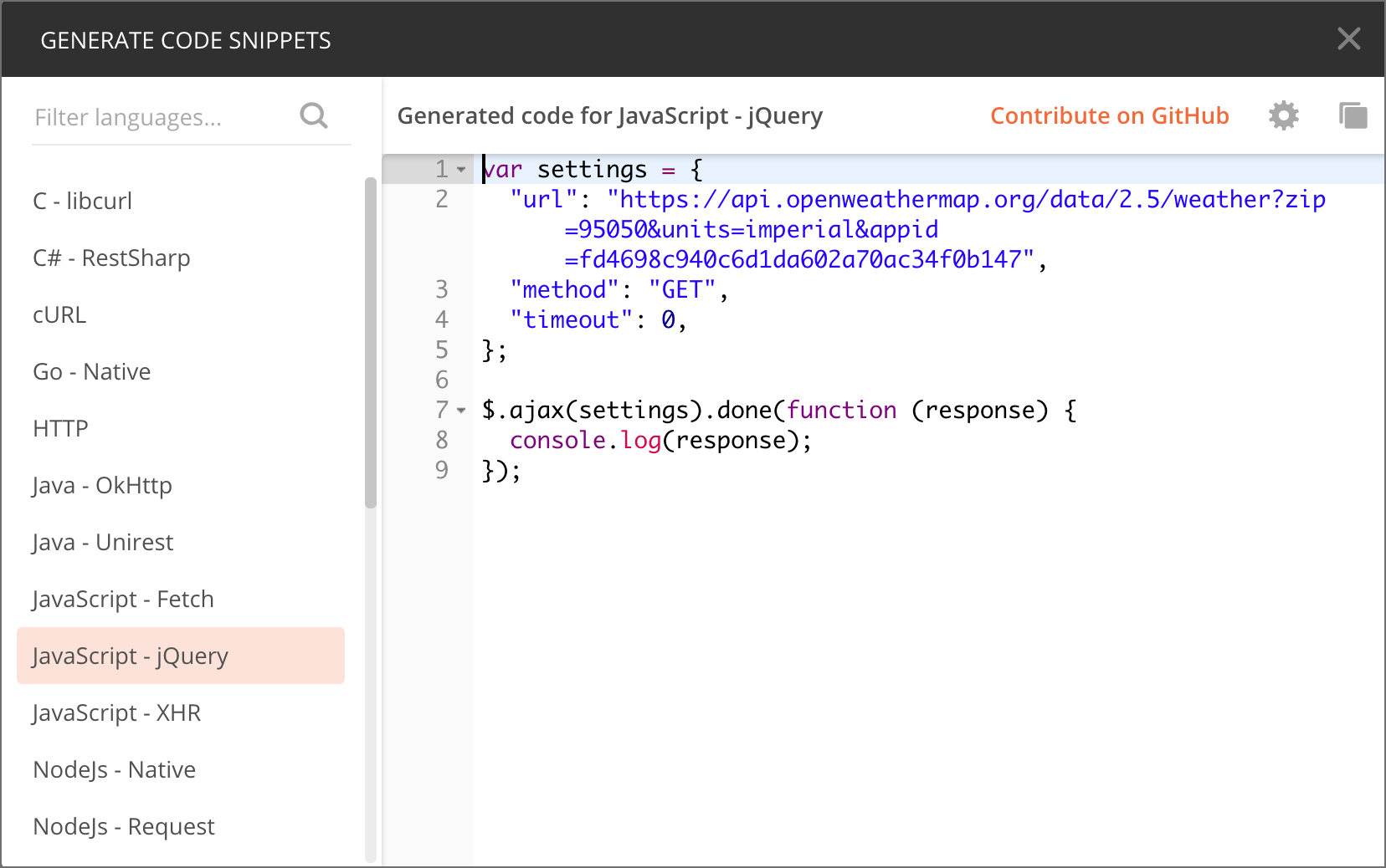 Copying JavaScript code from Postman