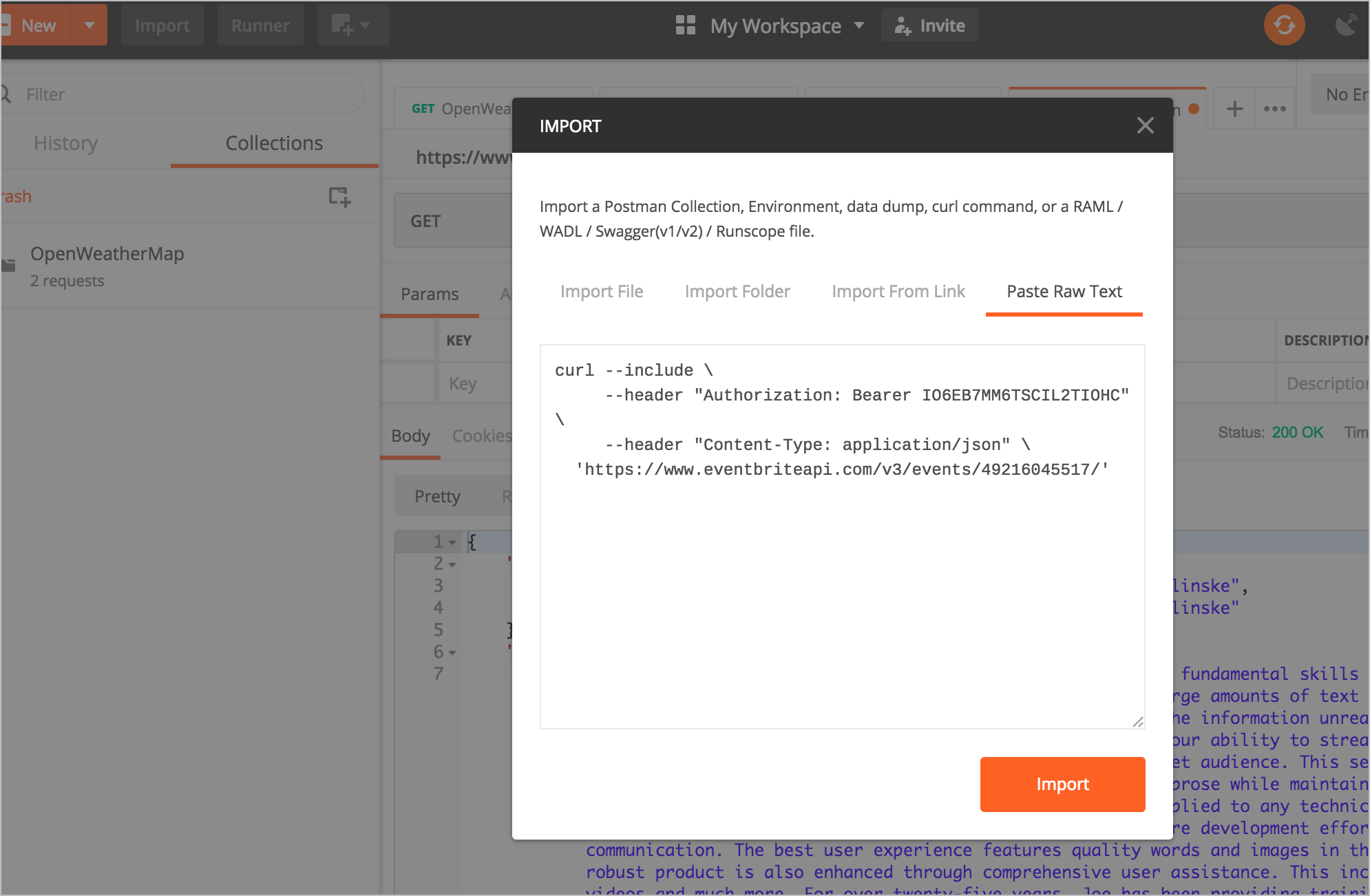 Pasting curl into Postman