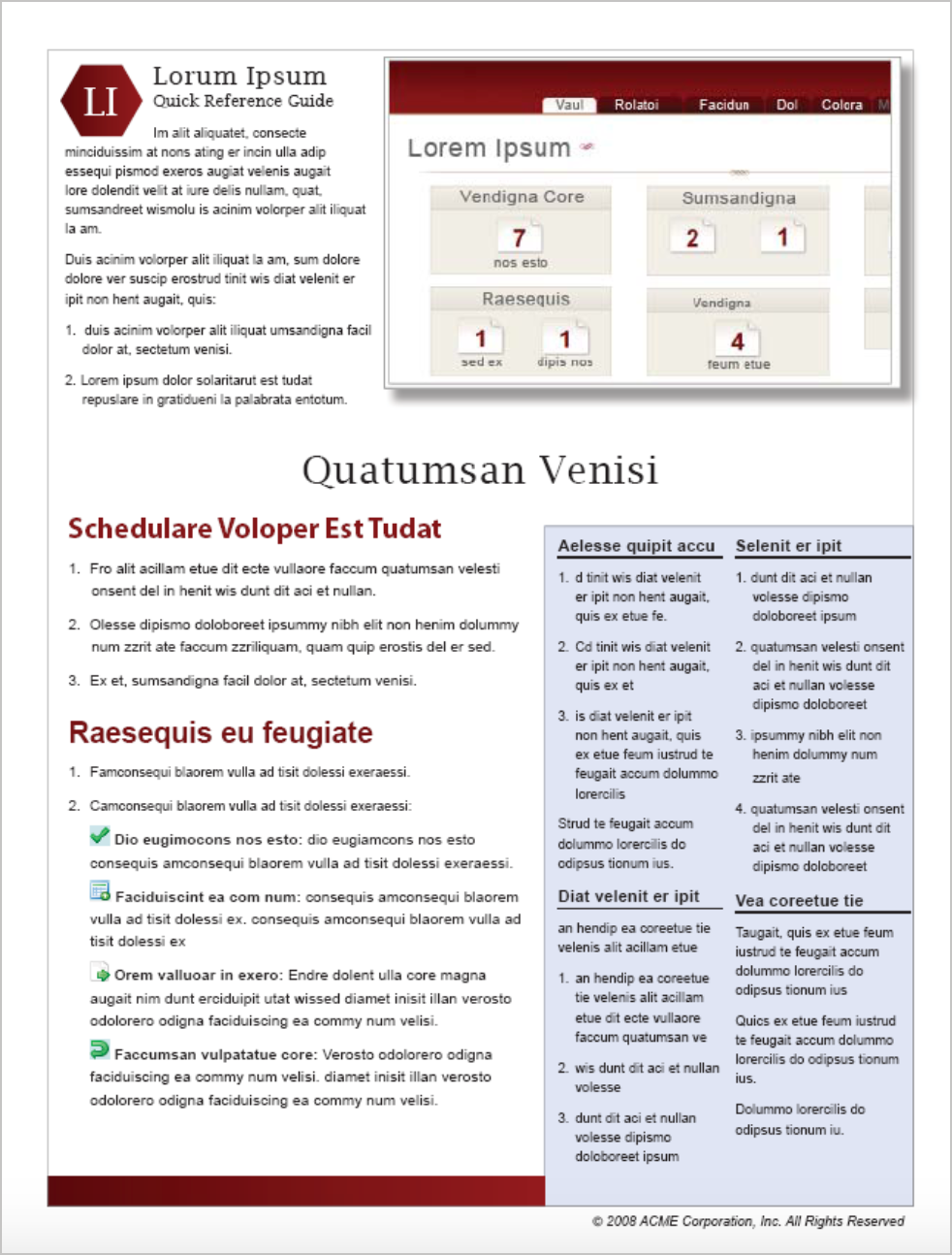 Quick reference guide format focusing on tasks
