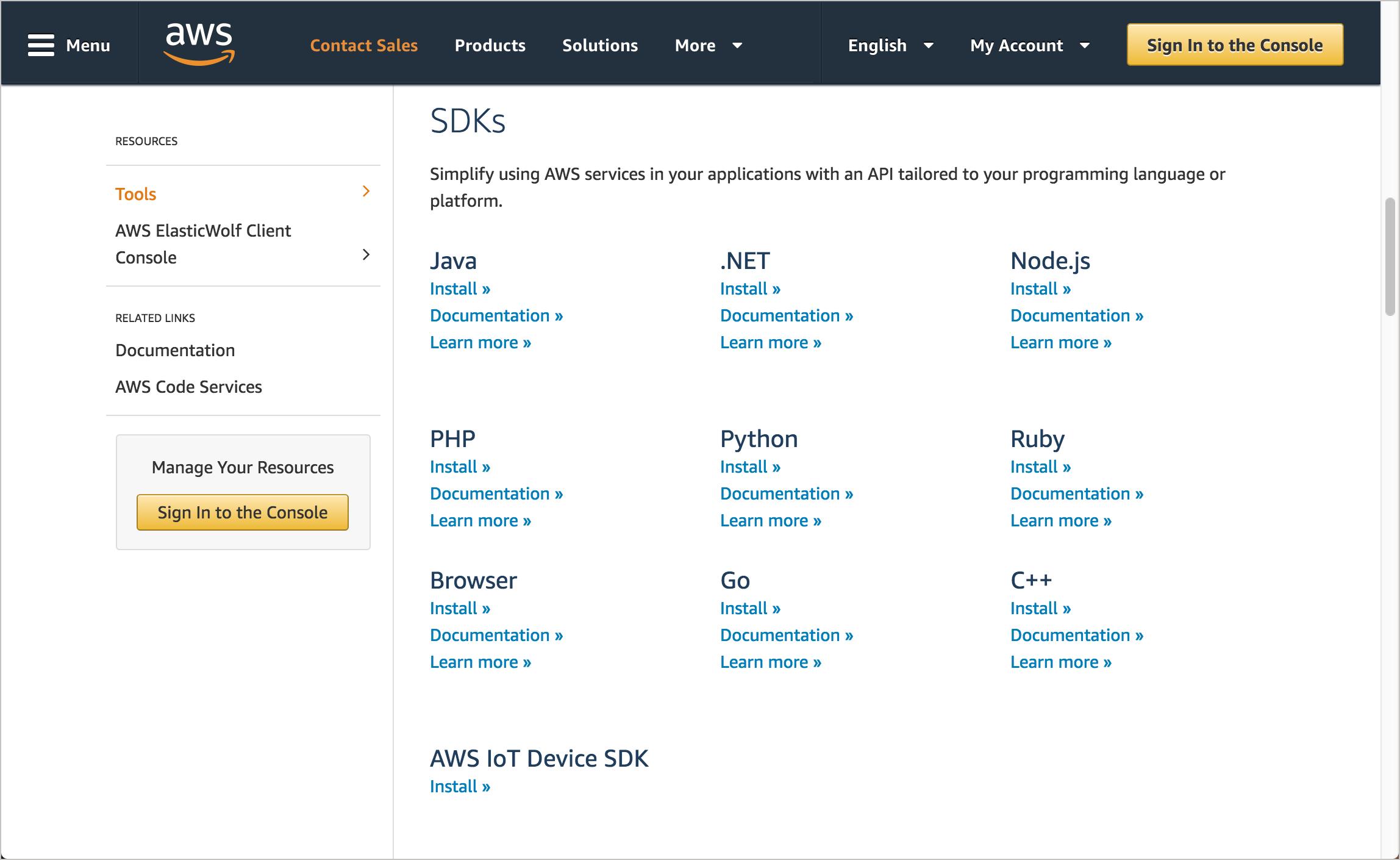 Amazon AWS SDKs