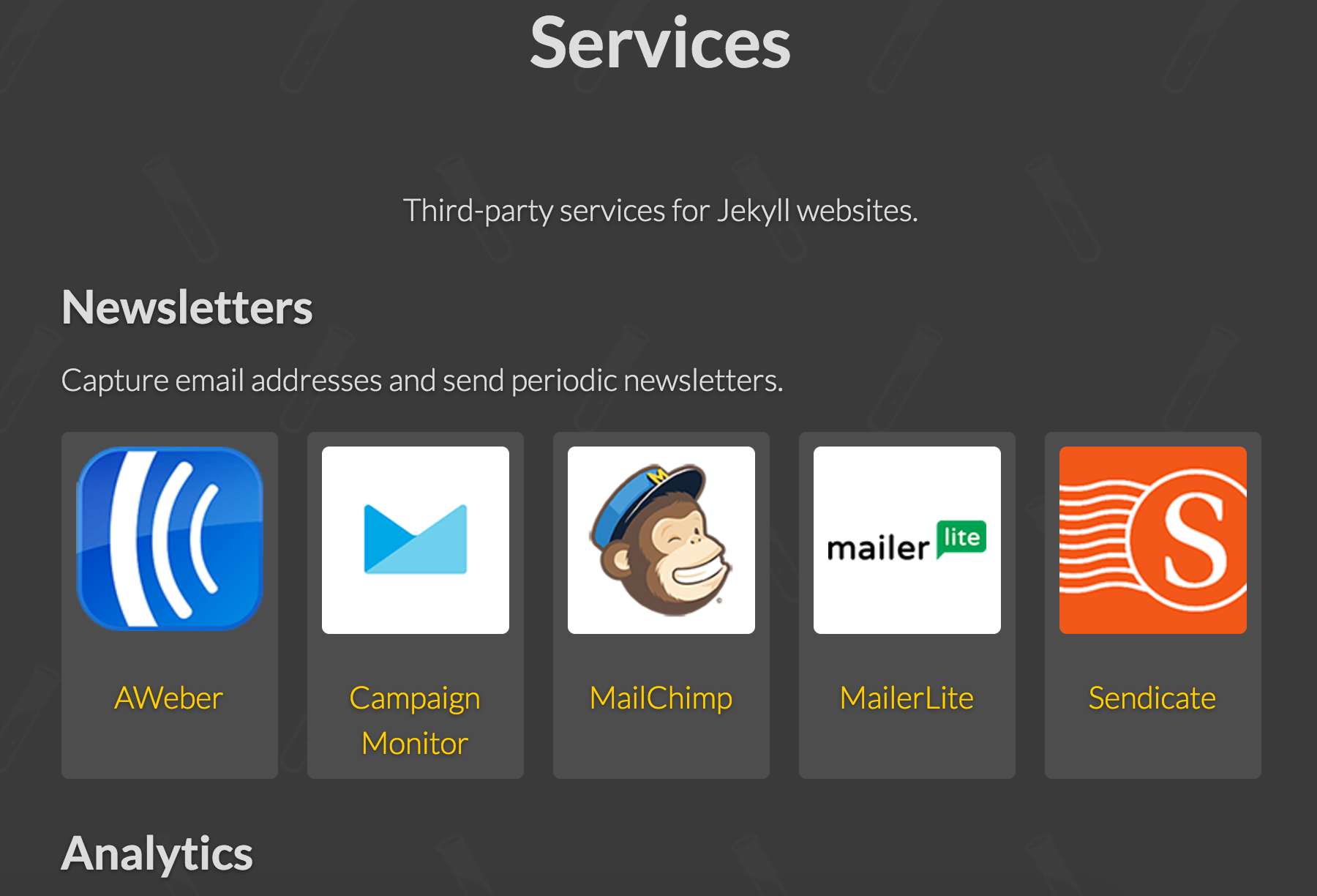 Many sites pull in all the services they need through external APIs