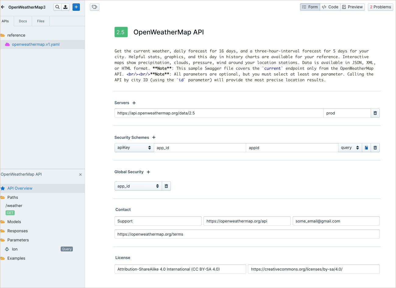 Populating Stoplight info in API Overview section