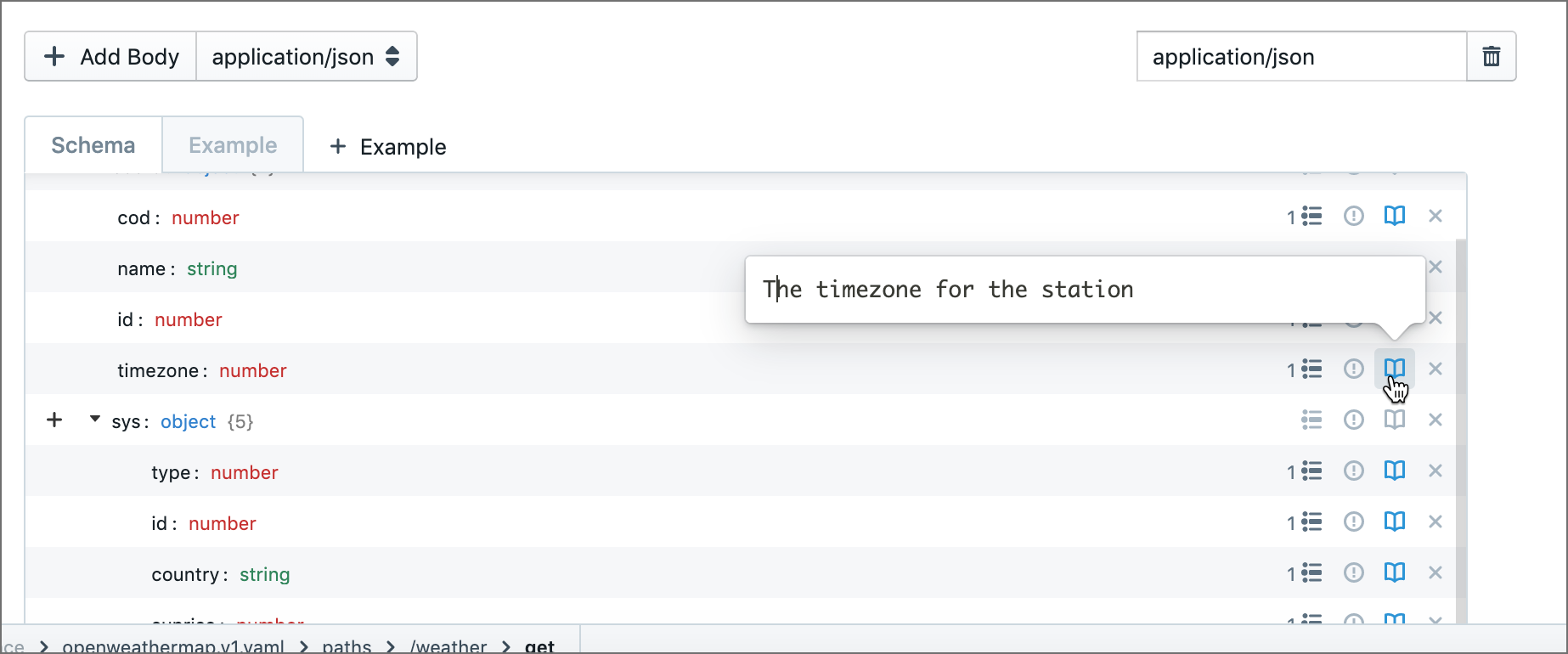 Entering descriptions in the GUI editor