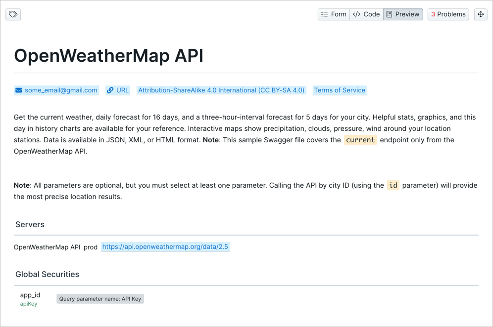 Preview of first section of API docs