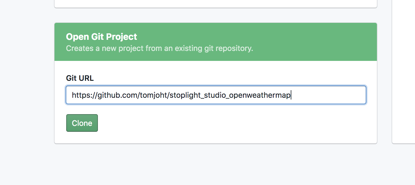 Opening a Git project