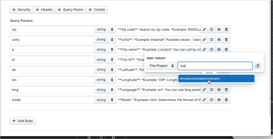 Reusing parameters