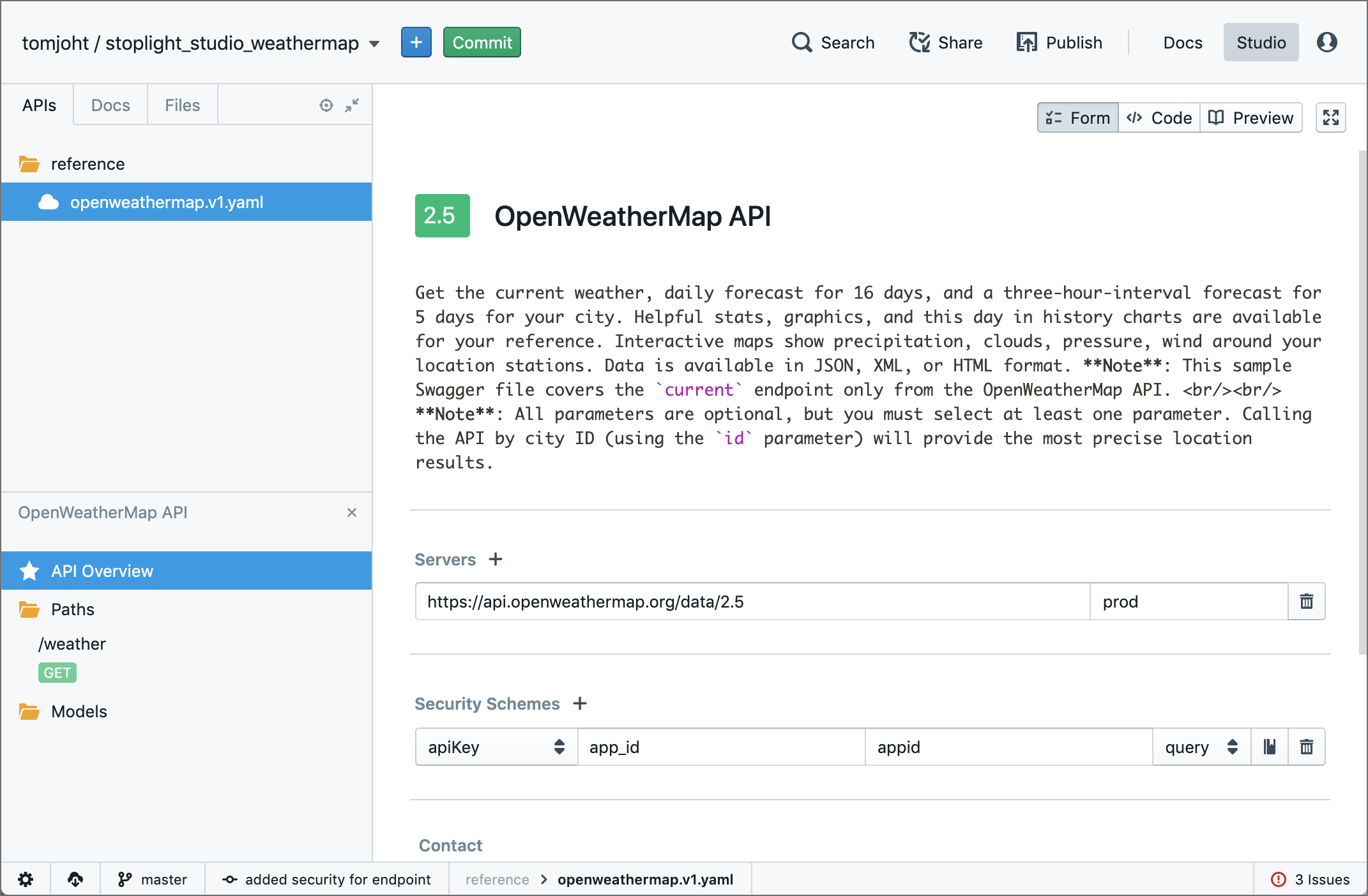Creating the API overview