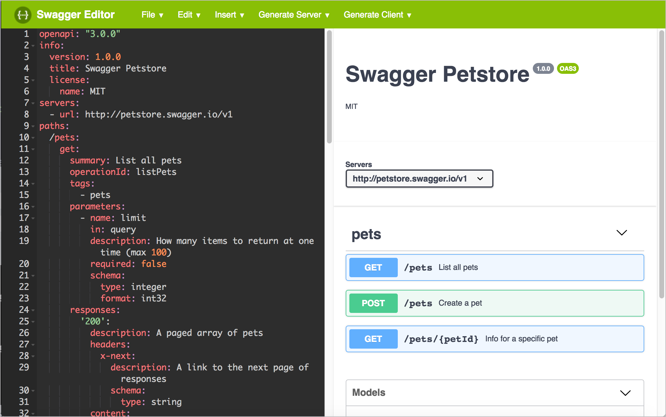 The Swagger Editor validates your specification content dynamically and shows you the display on the right