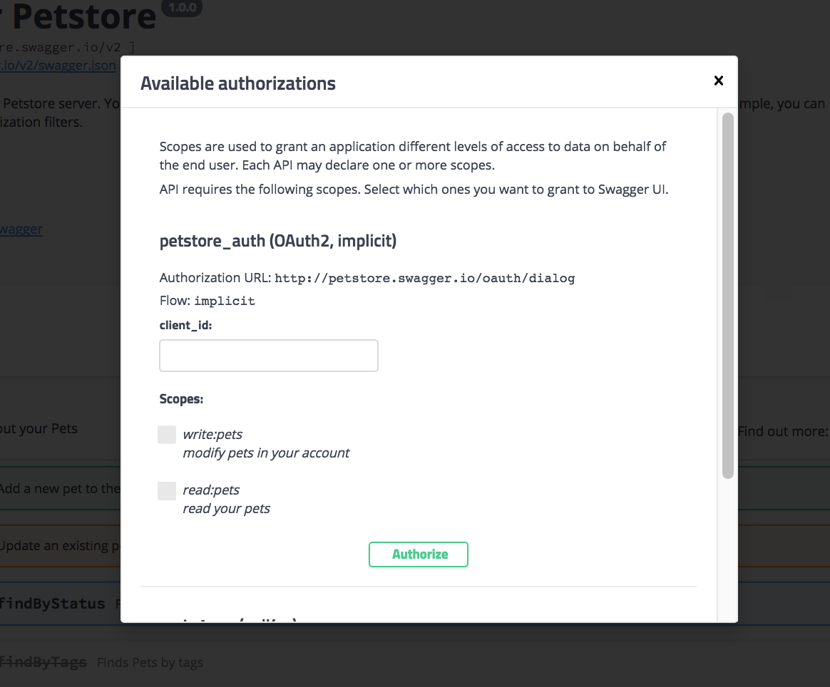 Authorization modal in Swagger UI