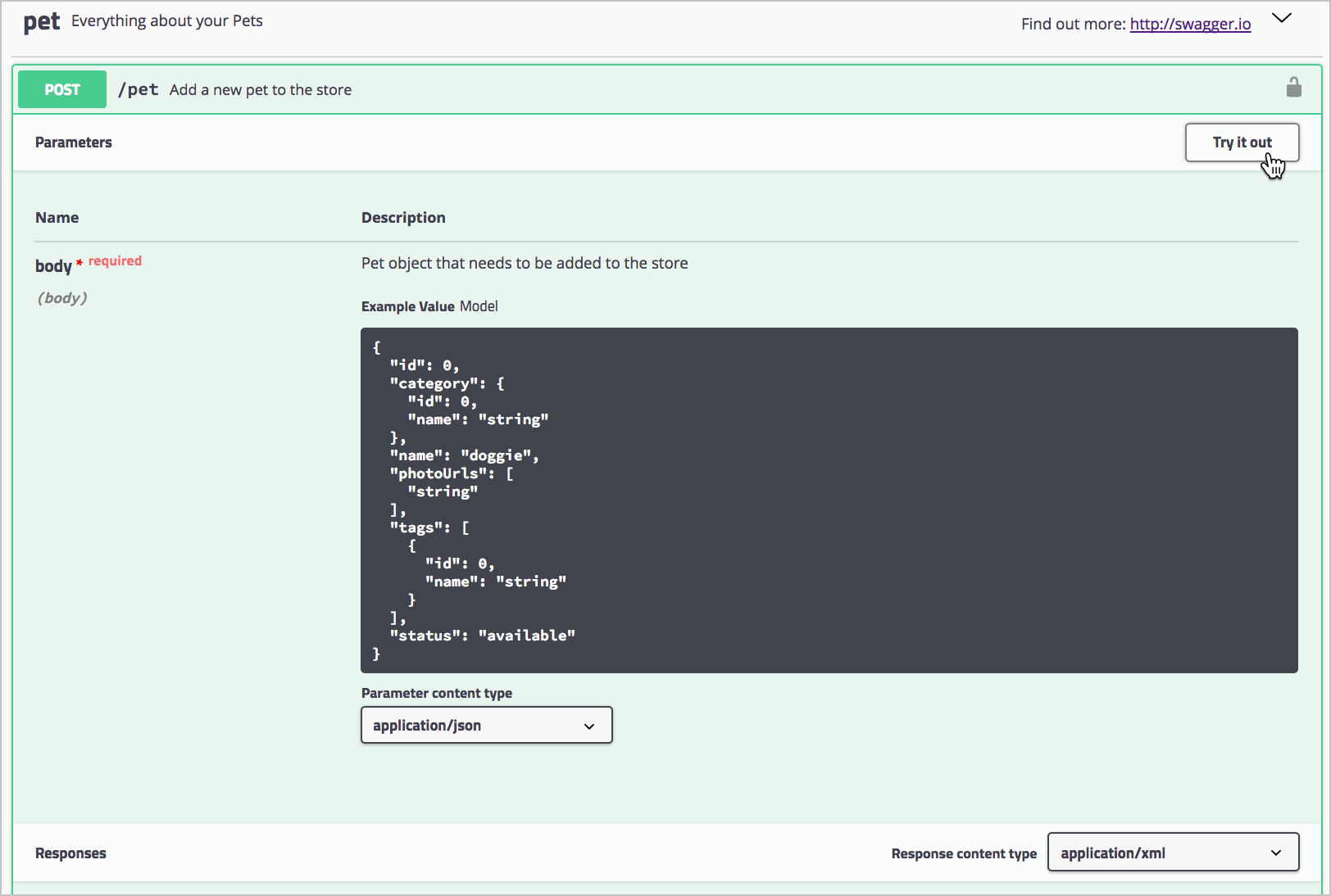 POST /pet endpoint and Try it out button in Swagger UI