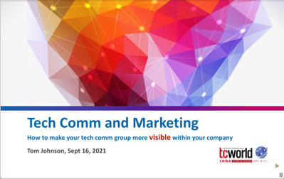 Tech comm and marketing slides