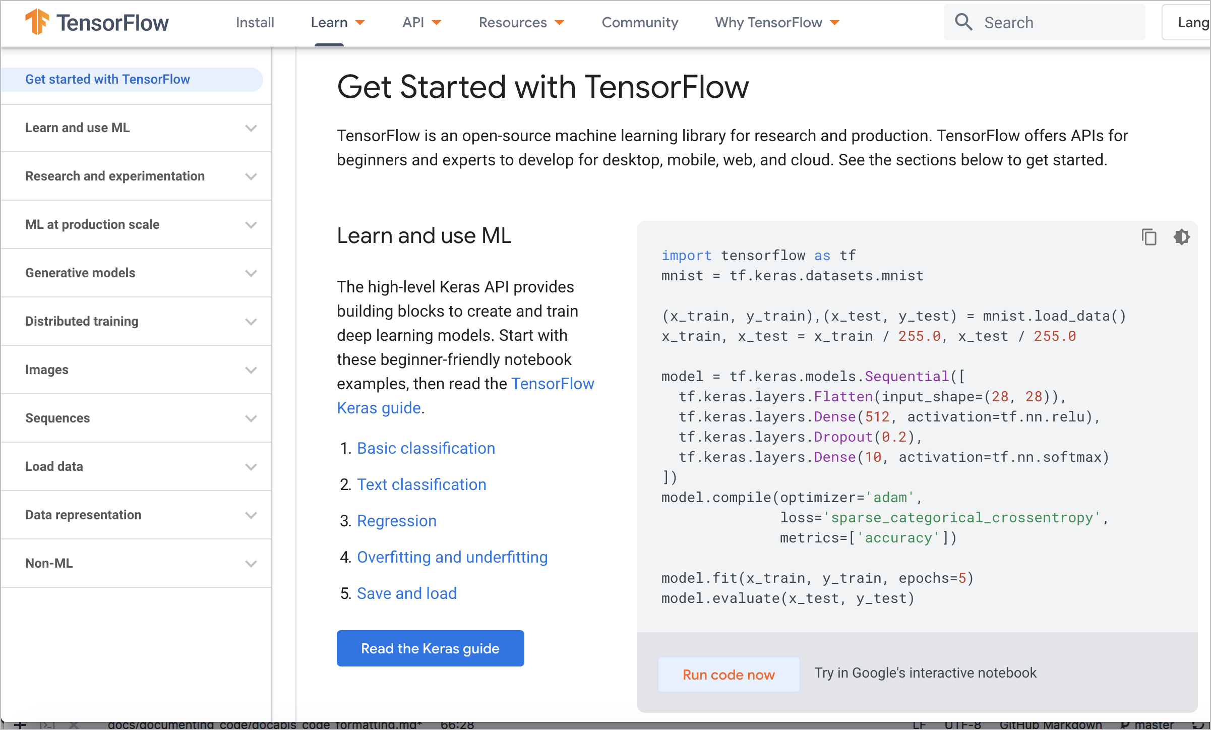 Interactive code examples from TensorFlow