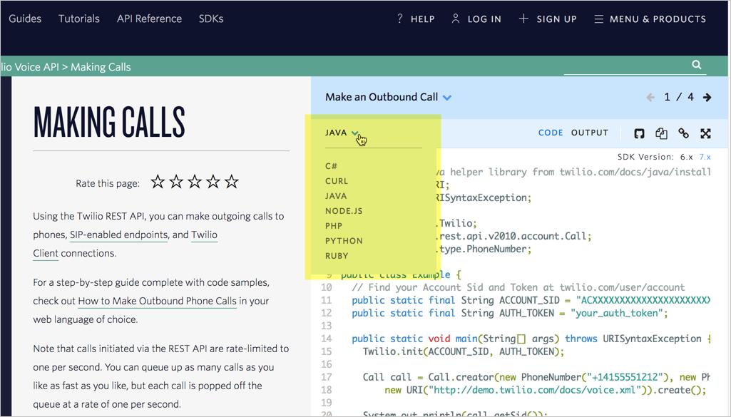 Twilio code samples