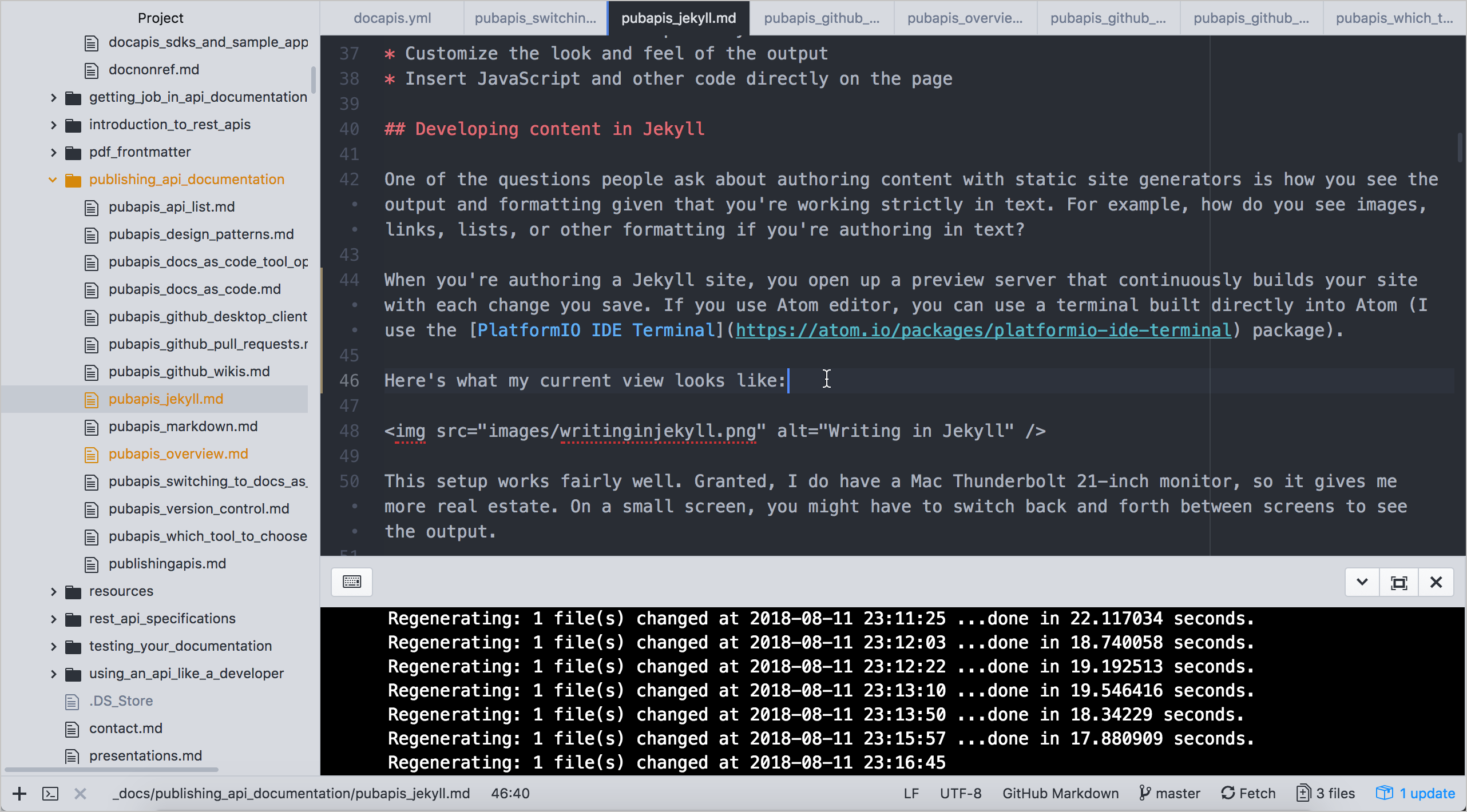Atom text editor view while working in Jekyll