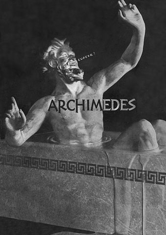 Archimedes saying Eureka in the bath