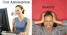 What we sometimes assume (left) versus the reality (right)