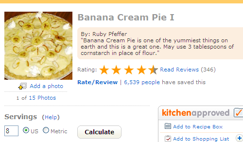 The banana cream pie recipe