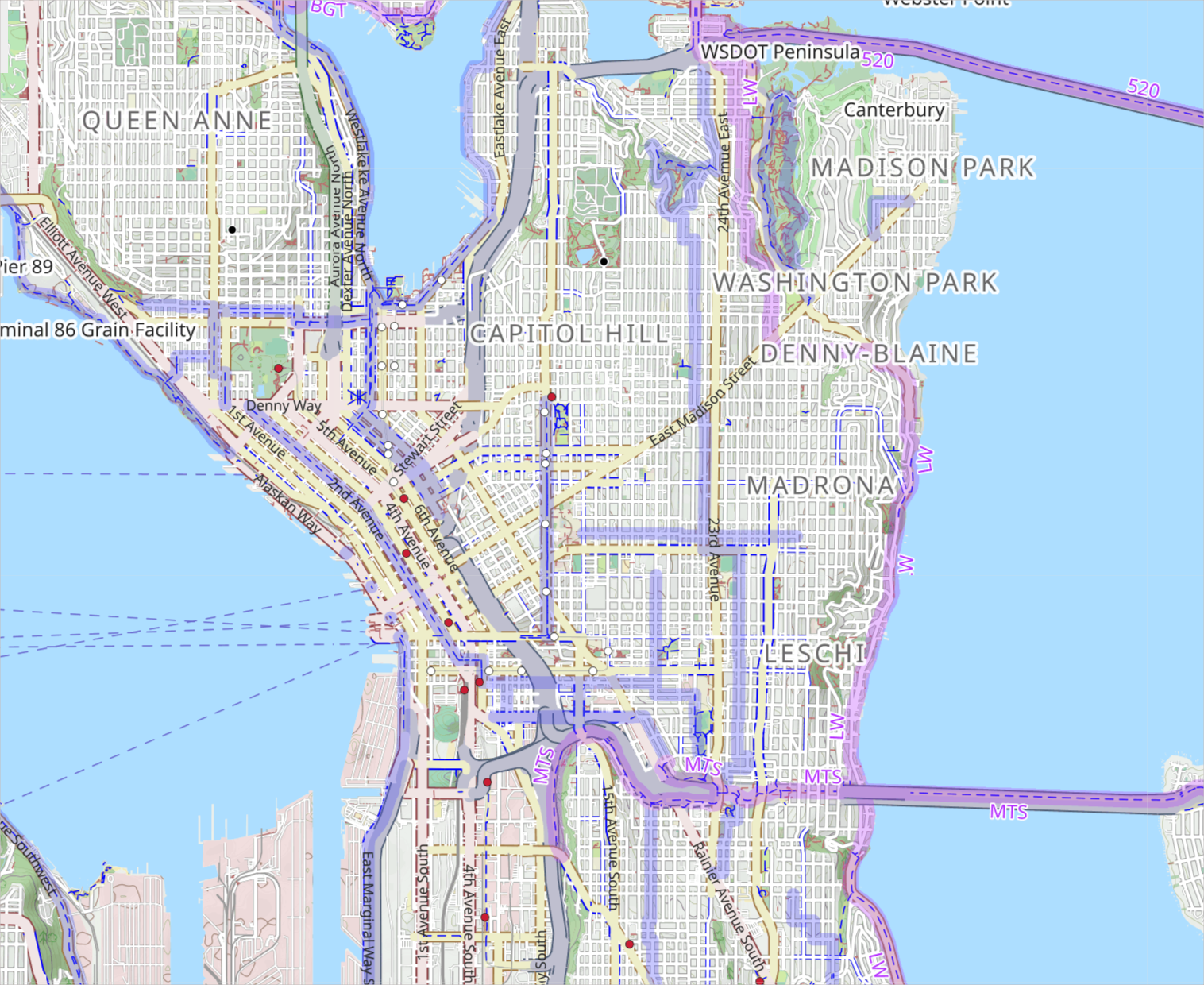 Protected cycle lanes in Seattle