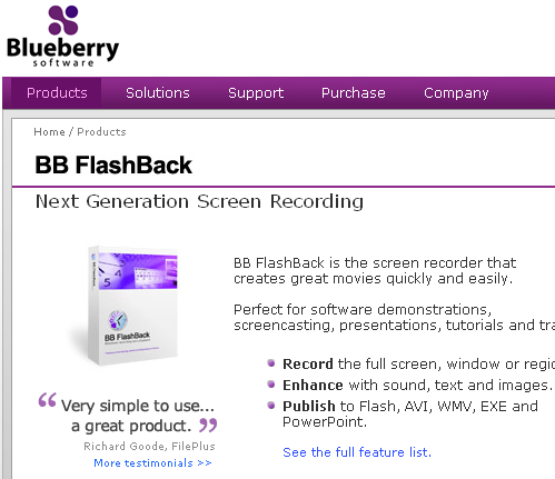 blueberry flashback express recorder