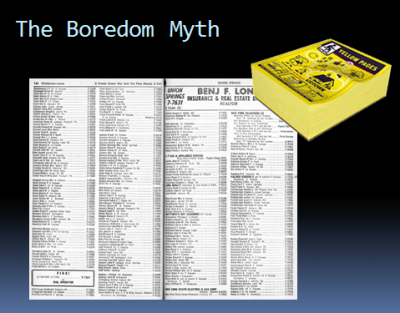 The Boredom Myth -- tech writing is more than just formatting phone books
