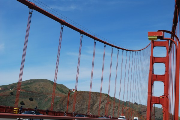 The bars on the Golden Gate bridge are made up of a lot of straight bar segments connected together.
