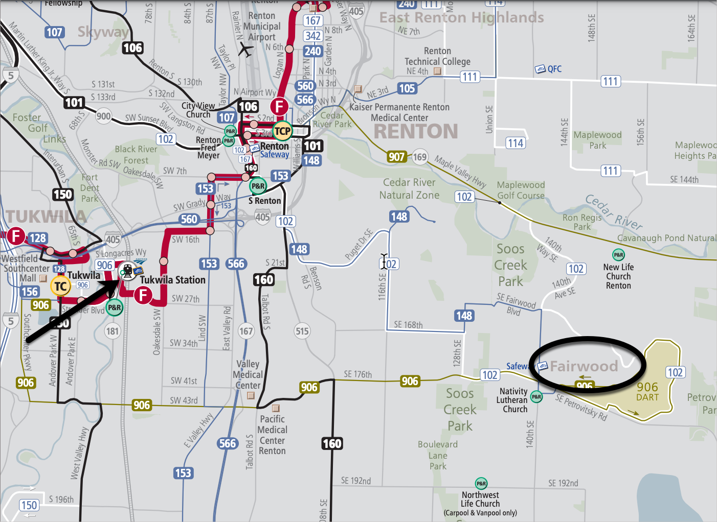 Bus lines in southeast King county