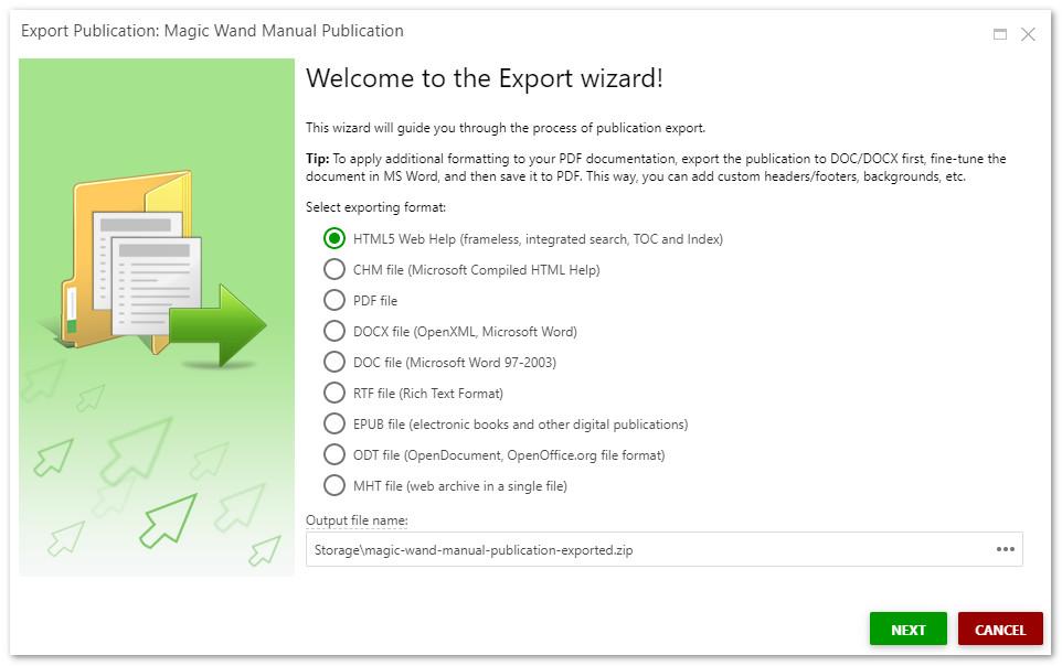 Export wizard