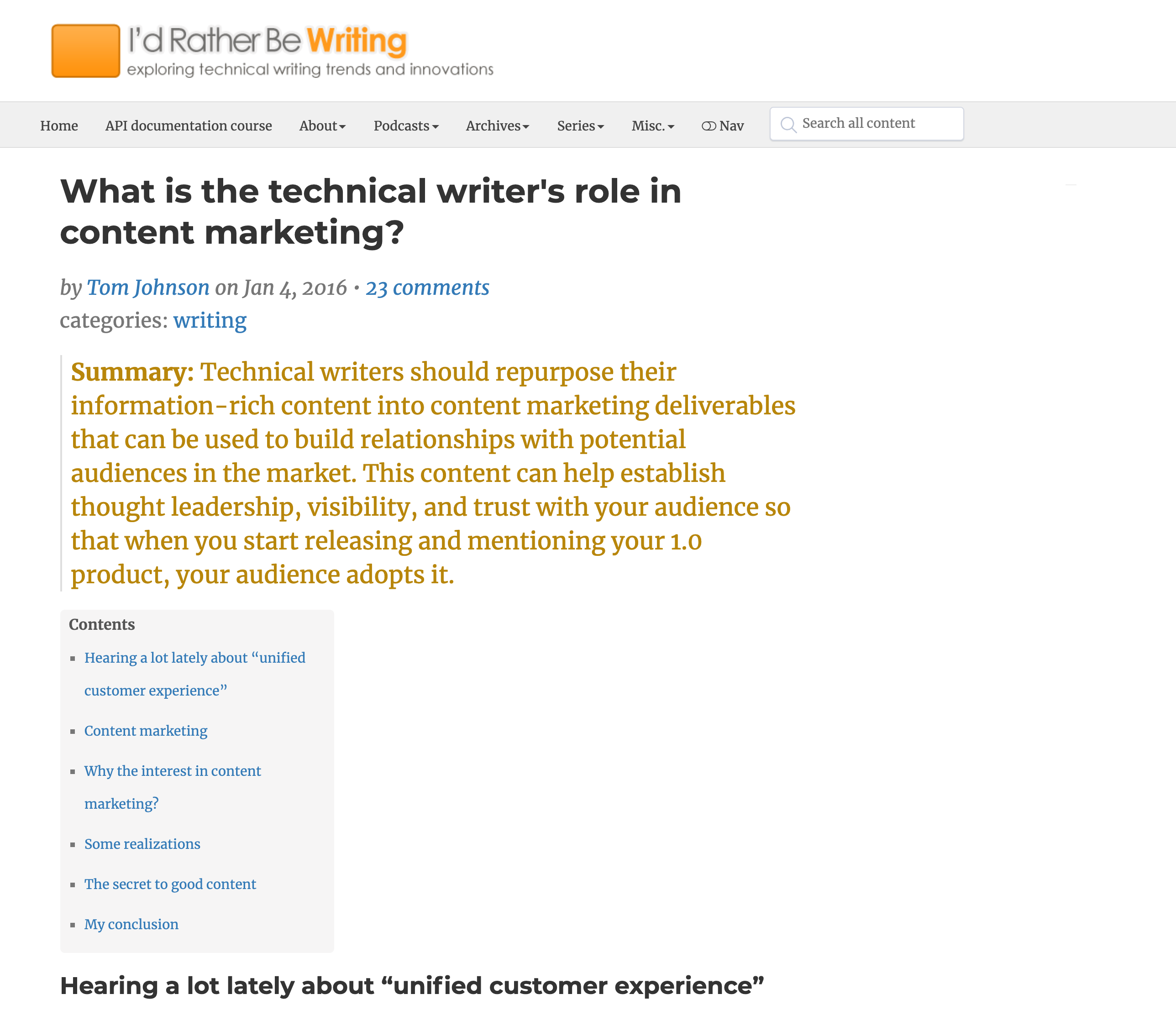 What is the technical writer's role in content marketing?