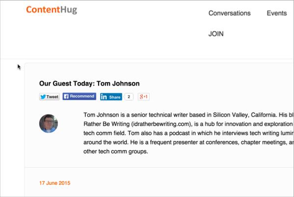 Conversation on Contenthug.com with Tom Johnson