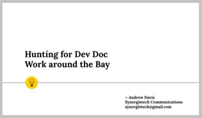 API documentation jobs San Francisco Bay area