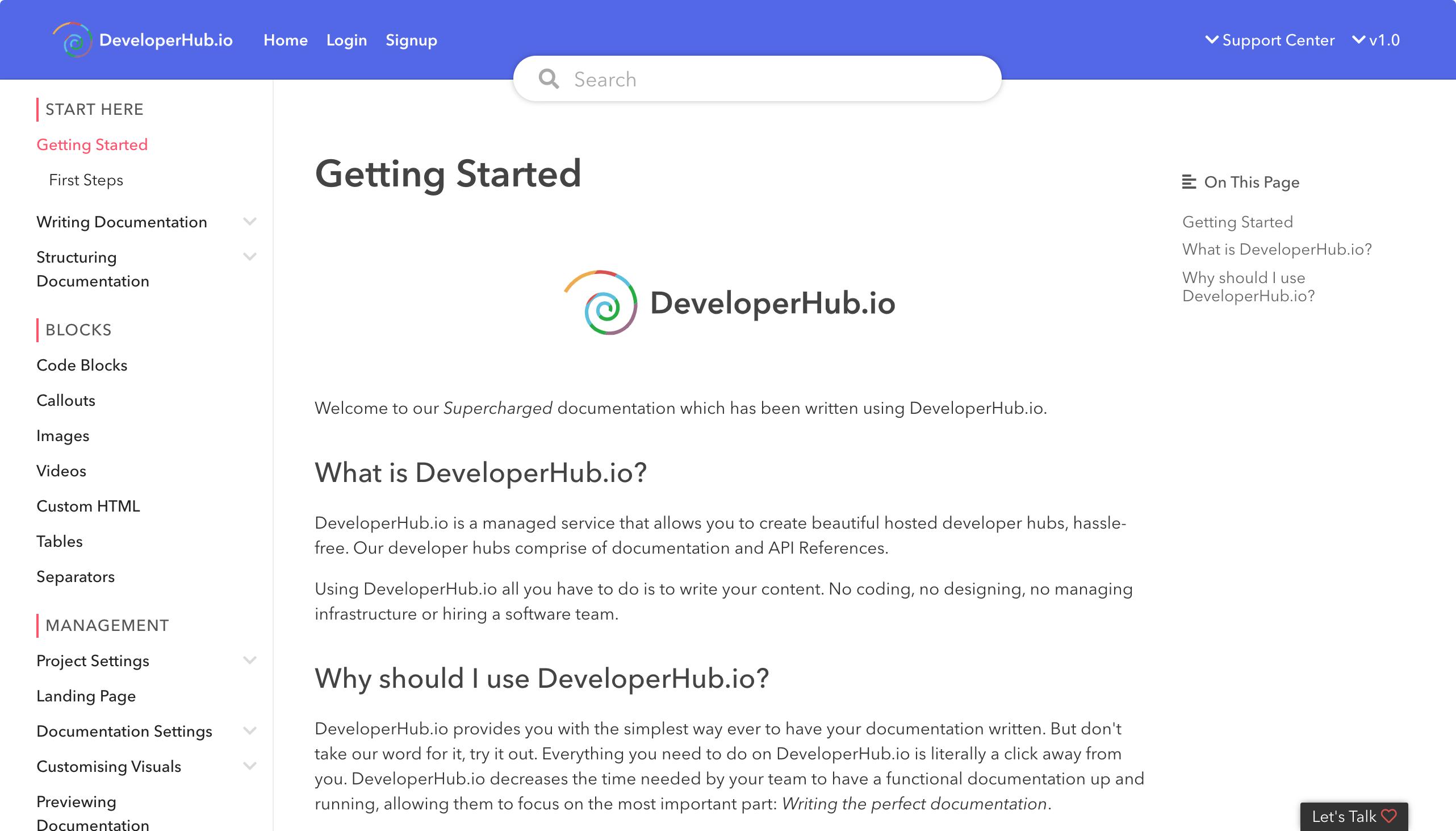 DeveloperHub Published Documentation