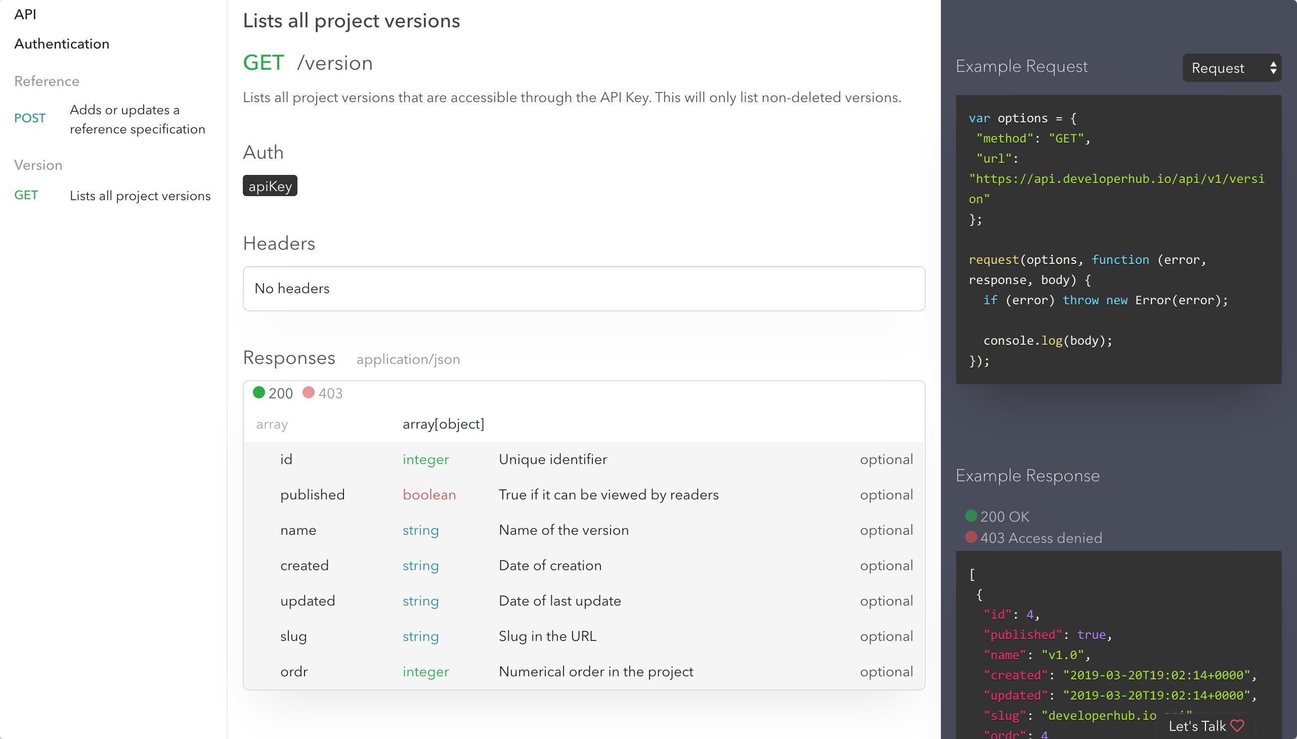 DeveloperHub API Reference