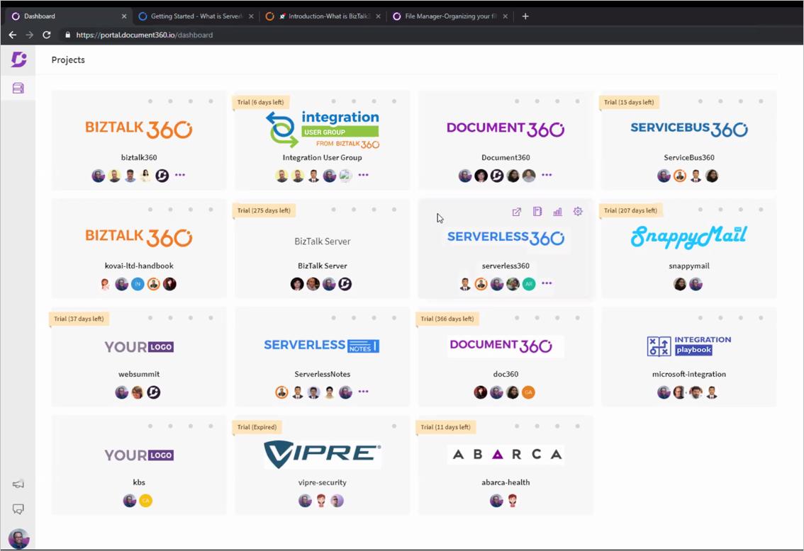 Multiple documentation websites