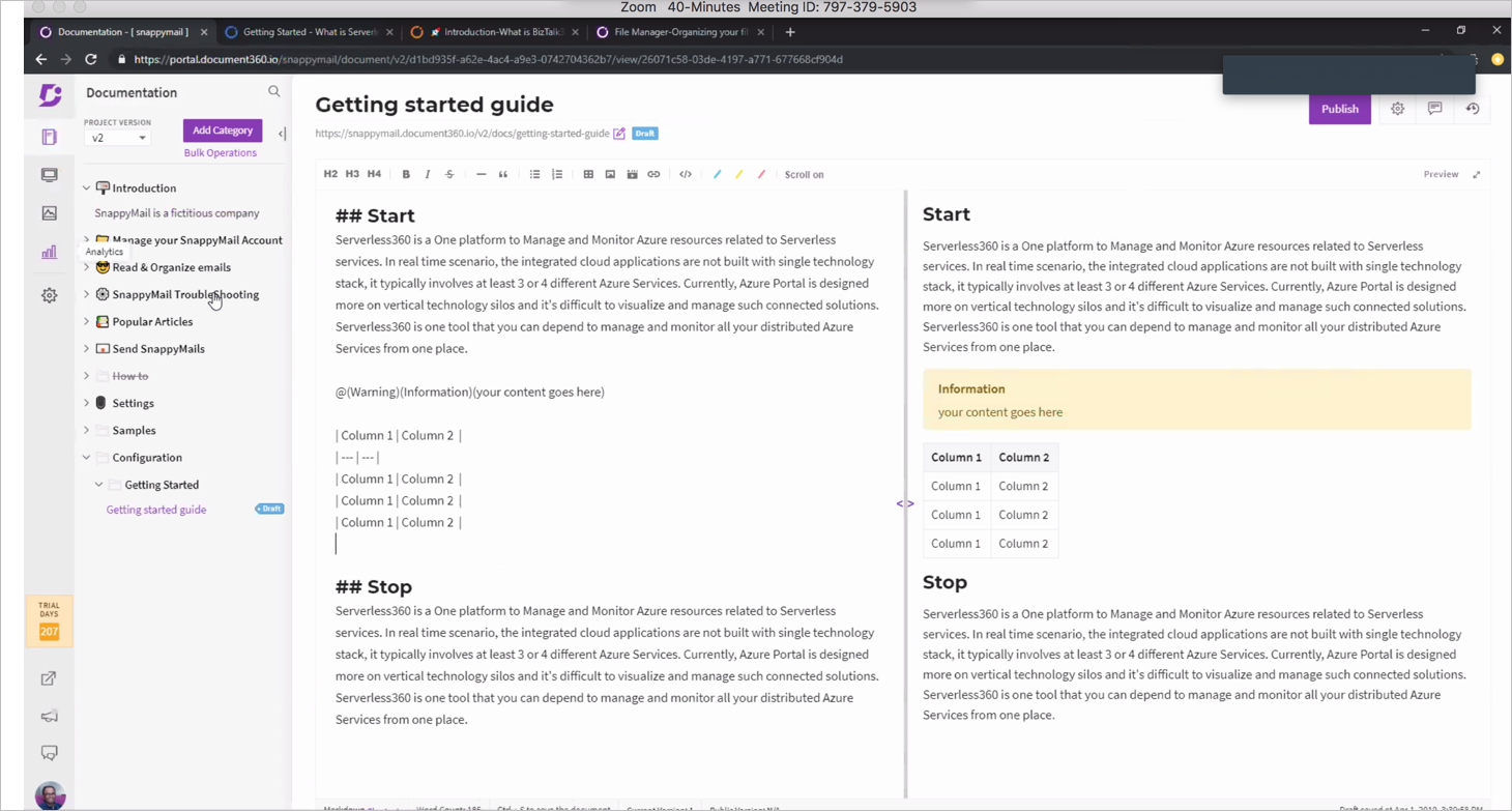 Writing in Markdown in Document 360