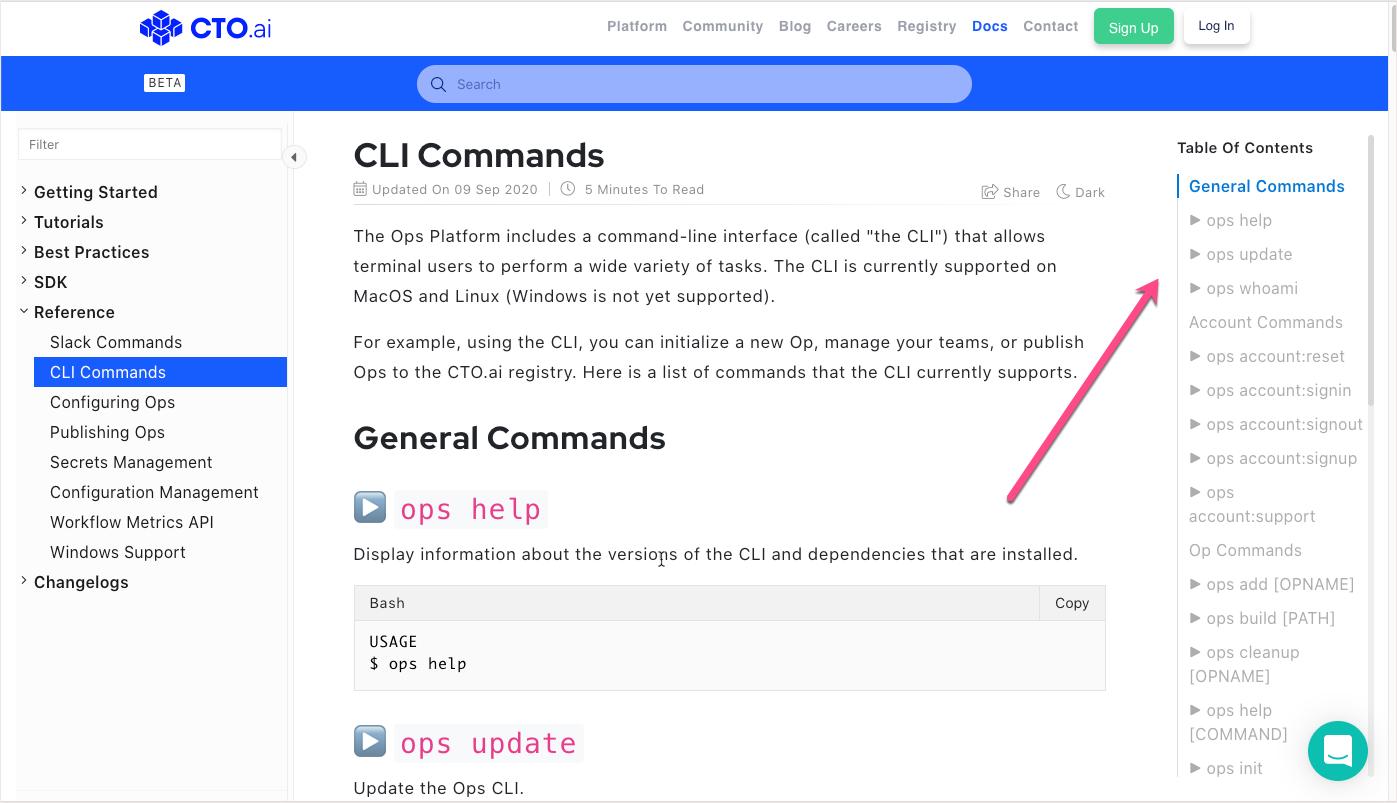 CLI commands display