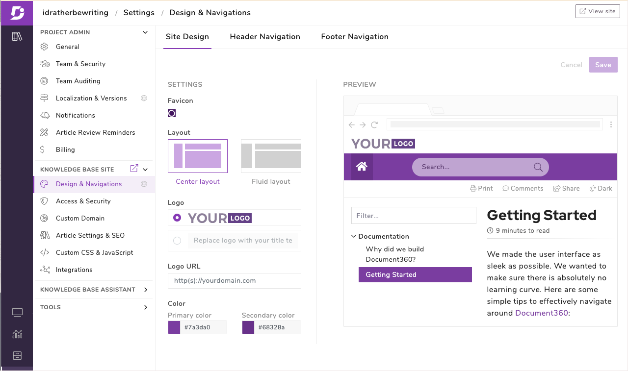 Customization with design elements in Document360