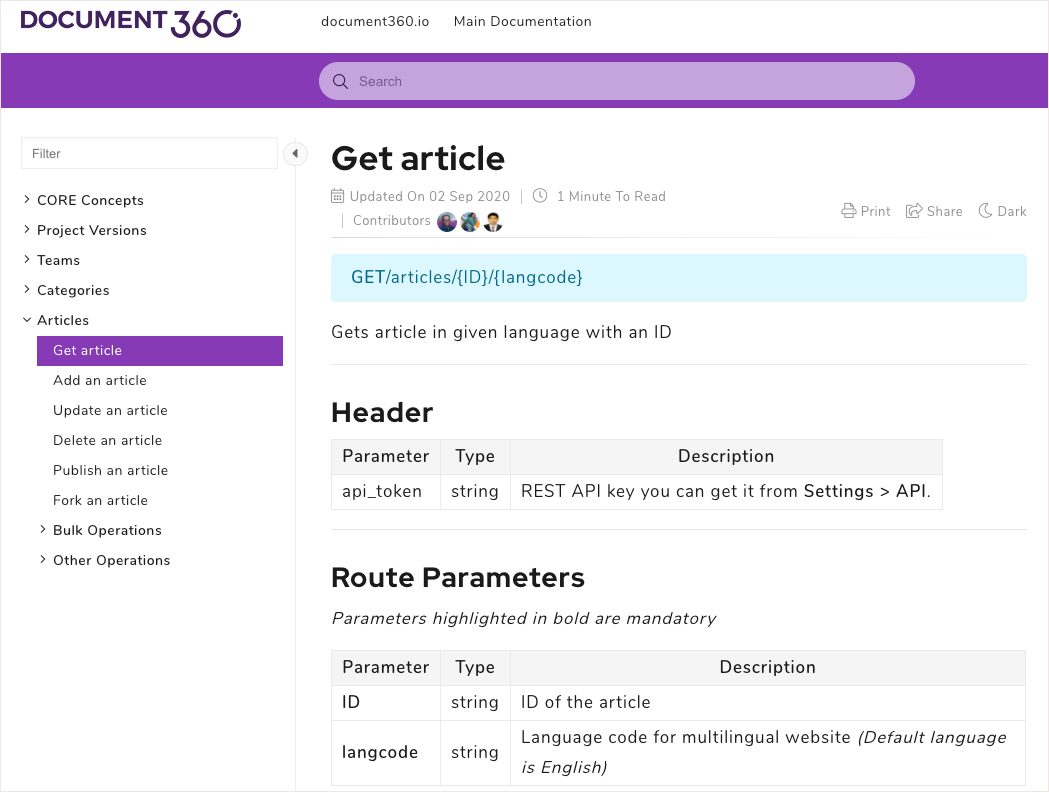 Document360 API - Get an Article