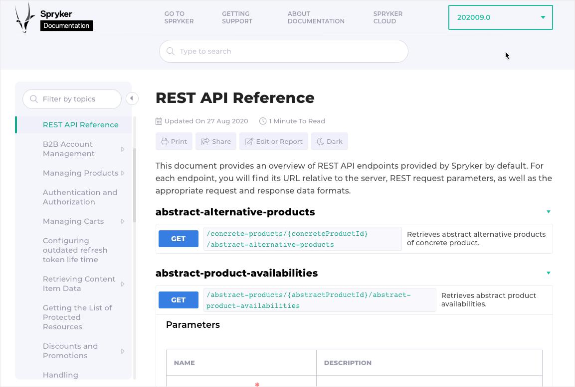 Spryker REST API integration