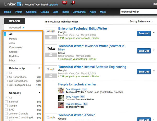 Faceted search on Linkedin