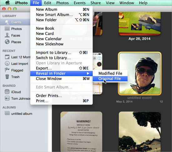 Find photo source files on a Mac