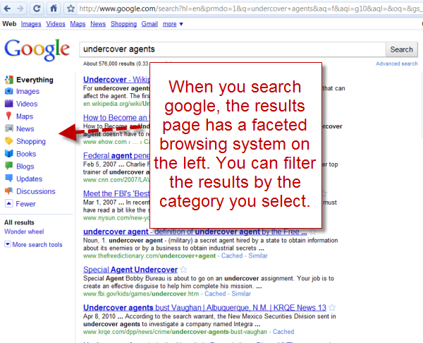 Google's faceted search