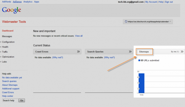 Adding a sitemap in Google Webmaster Tools