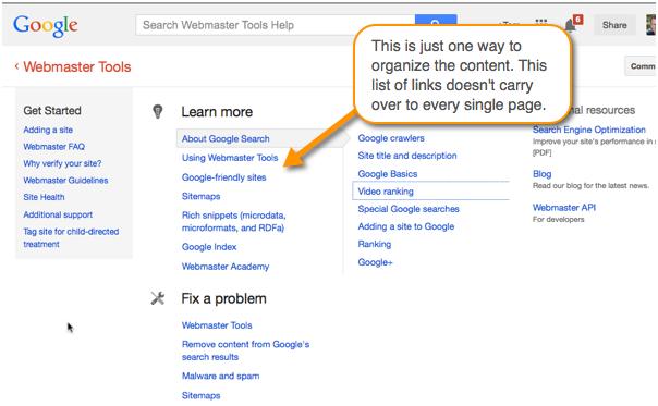 Google's master list of topics