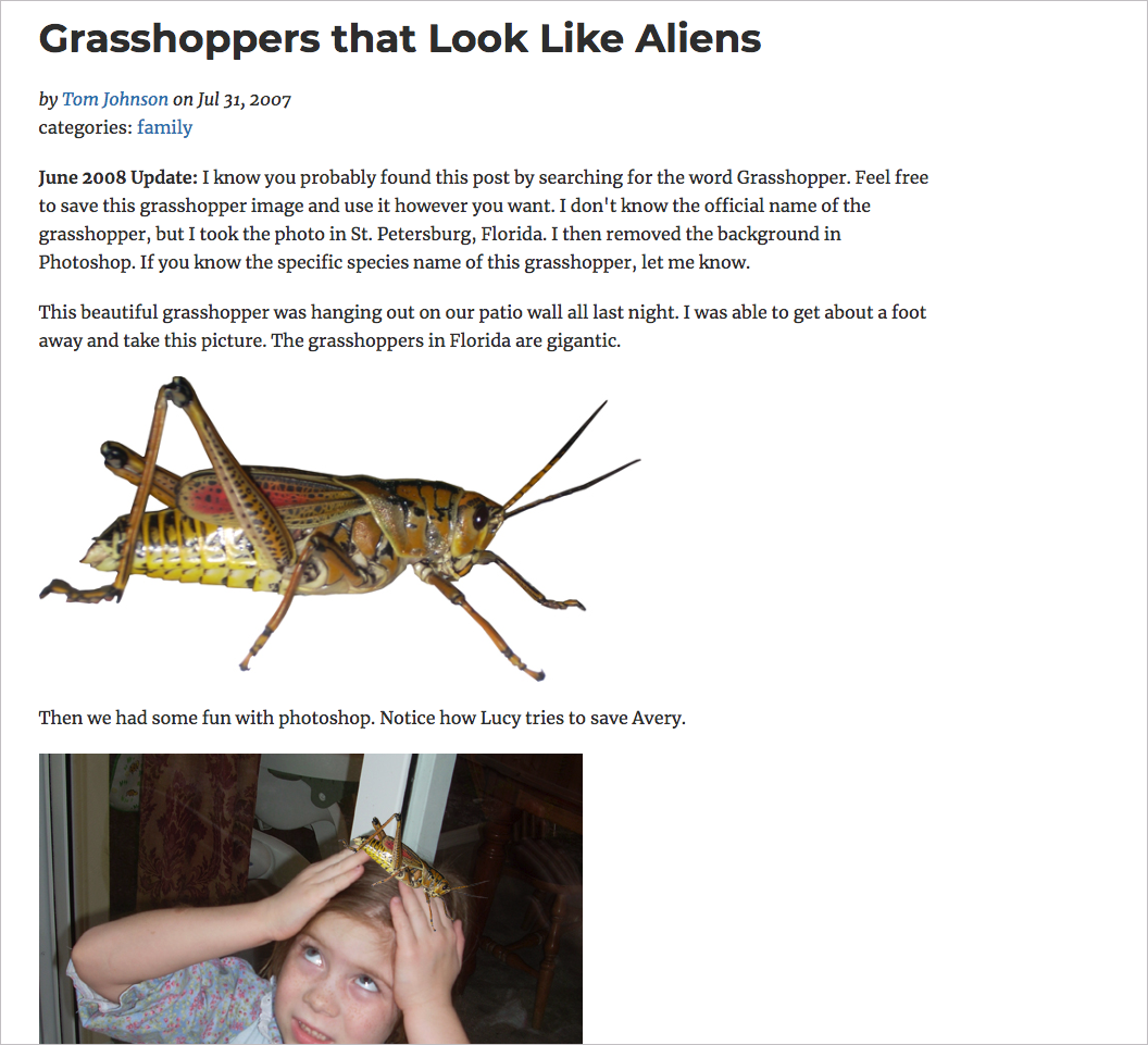 My famous grasshoppers post