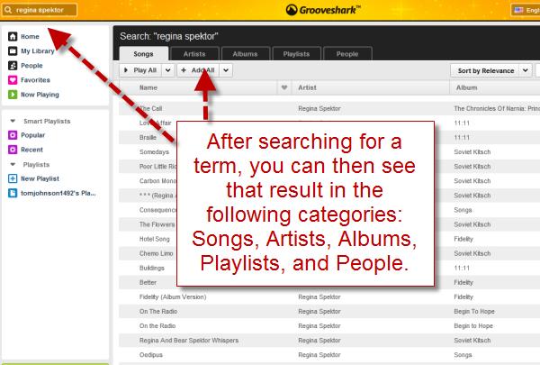 Grooveshark's faceted search