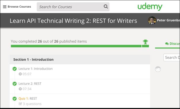 Peter Gruenbaum's Udemy course on REST API technical writing part 2