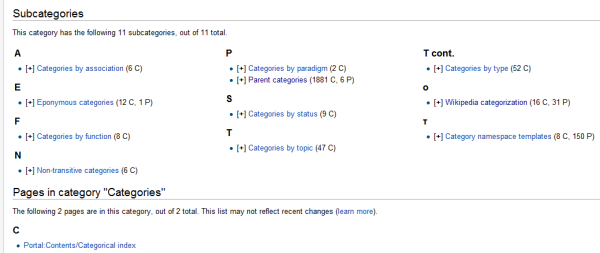 One of the highest levels of categorization on Wikipedia