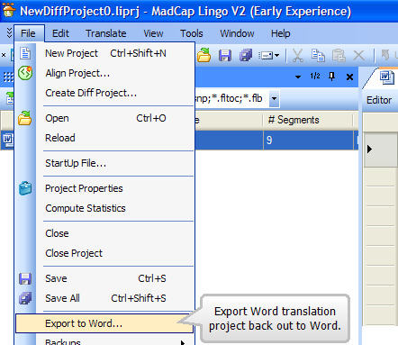 Madcap Lingo -- Exporting back to Word
