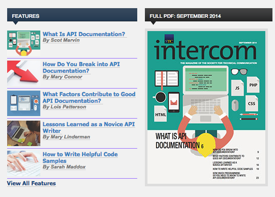 This issue of the STC Intercom is entirely dedicated to API documentation.